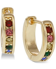 Laundry by Shelli Segal Gold-Tone Rainbow Pavé Huggie Hoop Earrings