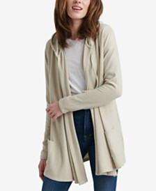 Lucky Brand Jersey Hooded Open-Front Cardigan