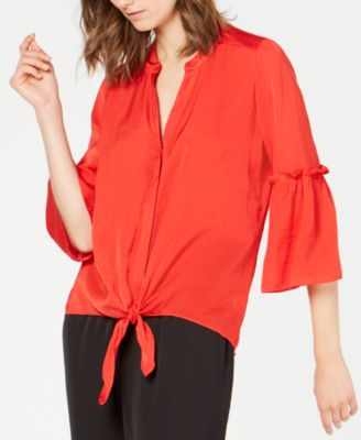 Washed-Satin Tie-Front Blouse, Created for Macy's