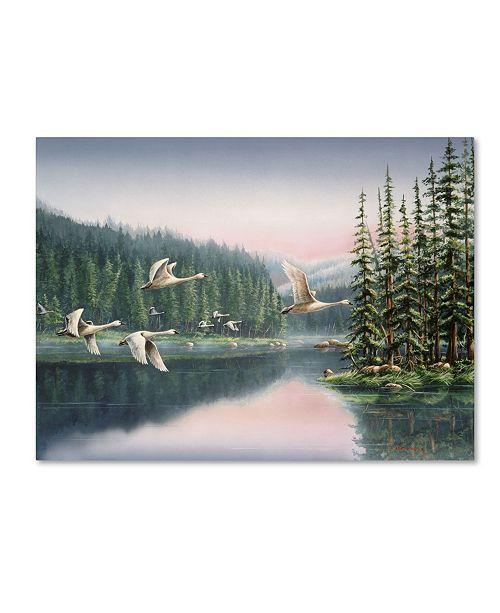 "Trademark Global Wanda Mumm 'Swans At Sunrise' Canvas Art - 24"" x 18"" x 2"""