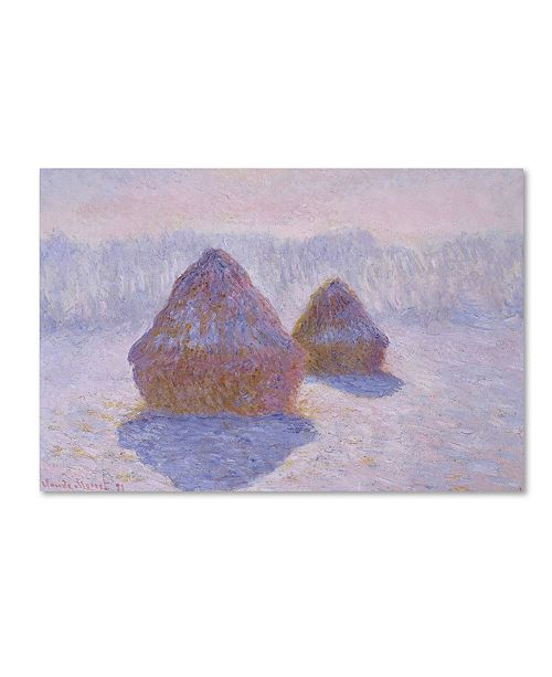 "Trademark Global Monet 'Haystacks Effect Of Snow And Sun' Canvas Art - 24"" x 16"" x 2"""