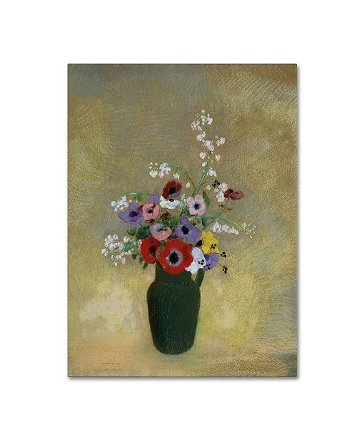 """Trademark Innovations Odilon Redon 'Large Green Vase With Mixed Flowers' Canvas Art - 32"""" x 24"""" x 2"""""""