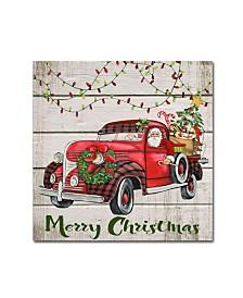 "Jean Plout 'Vintage Christmas Truck 3' Canvas Art - 18"" x 18"" x 2"""