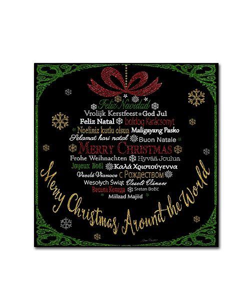 "Trademark Global Jean Plout 'Merry Christmas Glitter' Canvas Art - 14"" x 14"" x 2"""