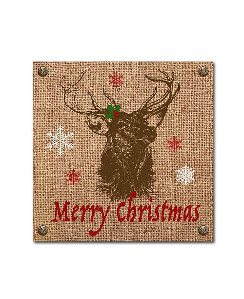 "Trademark Global Jean Plout 'Christmas On Burlap 2' Canvas Art - 14"" x 14"" x 2"""