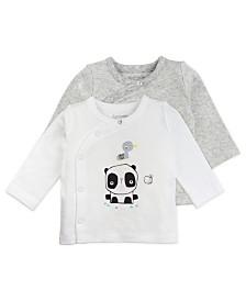 Mac and Moon 2-Pack White and Gray Panda Long Sleeve Kimono Wrap Tees