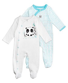 Mac and Moon 2-Pack Panda Print Footed Sleep and Play