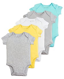 Mac and Moon 5-Pack Short Sleeve Bodysuits in Neutral Tones