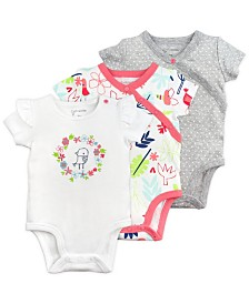 Mac and Moon 3-Pack Short Sleeve Bodysuits in Bird and Floral Prints