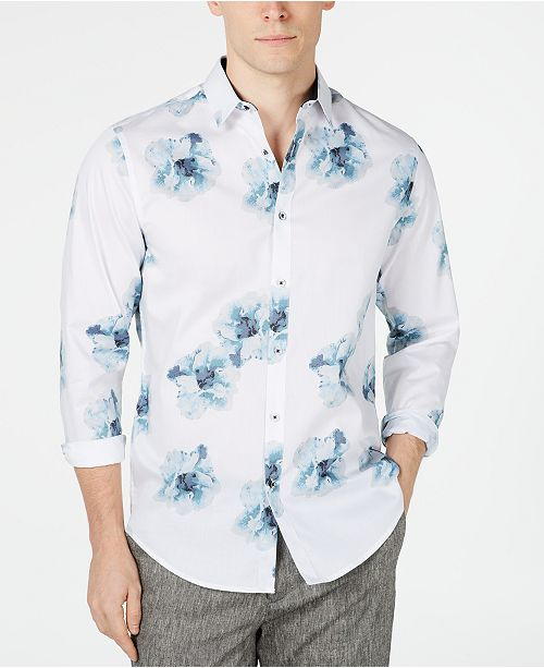 INC International Concepts I.N.C. Men's Watercolor Floral Shirt, Created for Macy's