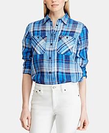 Petite Plaid Linen Shirt