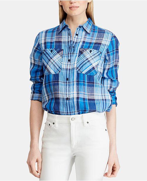 b89abe47c Lauren Ralph Lauren Petite Plaid Linen Shirt   Reviews - Tops ...