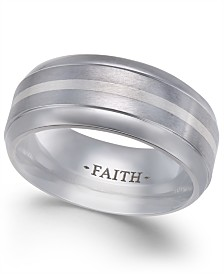 Men's Faith Striped Cobalt Ring