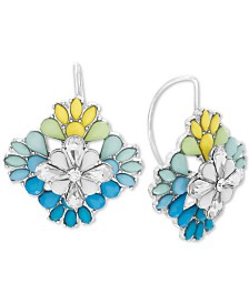 Steve Madden Women's Multi-Color Rhinestone Square Flower Gold-Tone Earrings