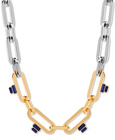 """Two-Tone Stone Linked 16"""" Collar Necklace"""