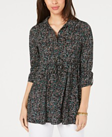 Style & Co Floral-Print Drawstring Top, Created for Macy's