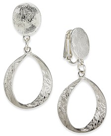 Charter Club Hammered Drop Hoop Clip-On Earrings, Created for Macy's