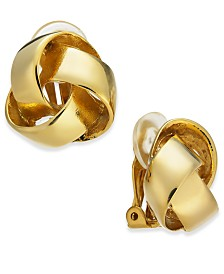 Charter Club Gold-Tone Love Knot Clip-On Earrings, Created for Macy's