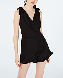 Juniors' Ruffled Surplice Romper