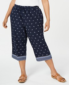 Karen Scott Plus Size Anchor-Print Capri Pants, Created for Macy's