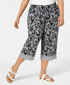 Karen Scott Plus Size Paisley Parade Capri Pants, Created for Macy's