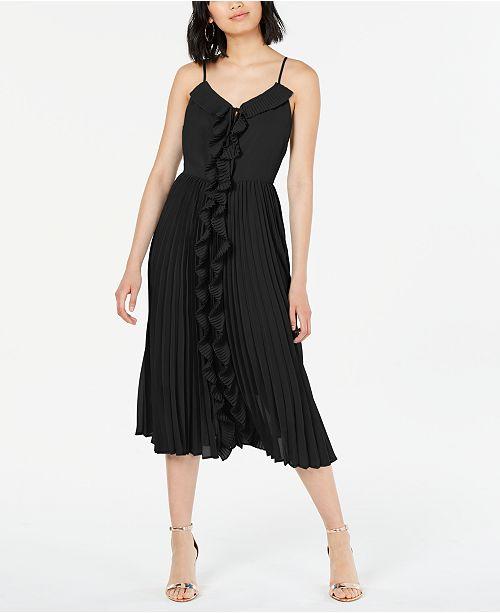 Bar III Ruffled Pleated-Skirt Fit & Flare Dress, Created for Macy's