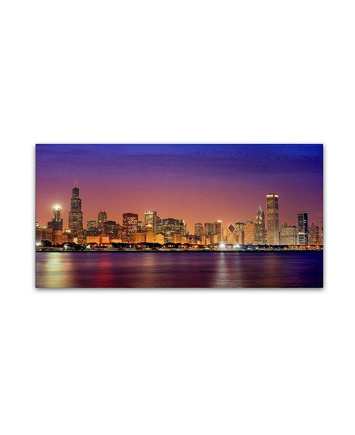 "Trademark Global Mike Jones Photo 'Chicago Dusk full skyline' Canvas Art - 47"" x 24"" x 2"""