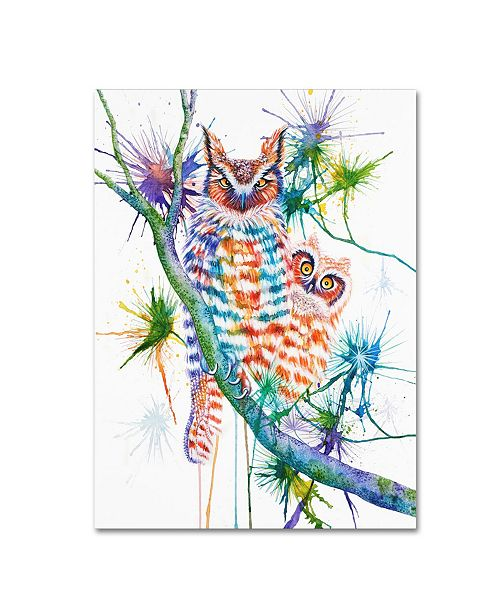 "Trademark Global Michelle Faber 'Momma And Baby Owl' Canvas Art - 32"" x 24"" x 2"""