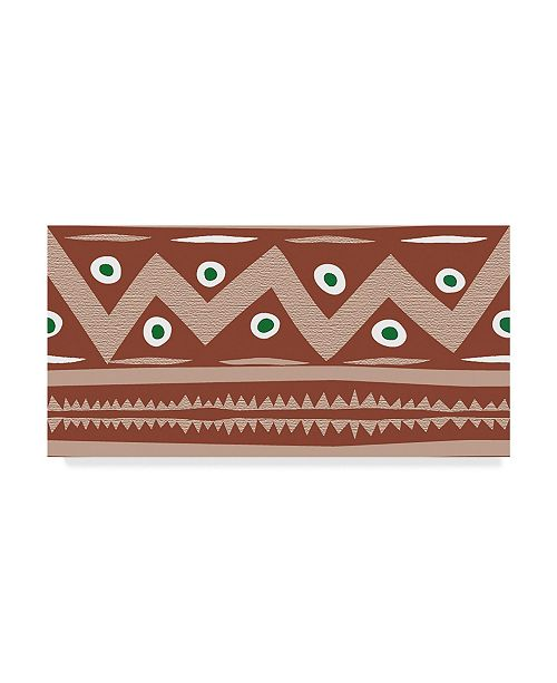"Trademark Global Sher Sester 'Brown Stripe Border' Canvas Art - 24"" x 12"" x 2"""