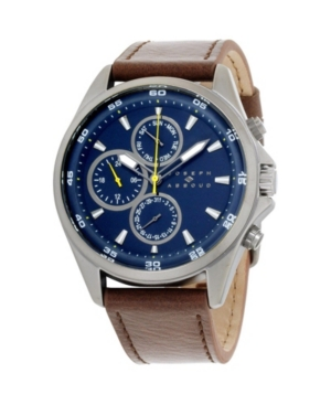 Image of Joseph Abboud Men's Analog Brown Leather Strap Watch 9.75mm