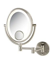 "The Jerdon HL9515N 8"" x 10"" Oval Lighted Wall Mount Makeup Mirror"