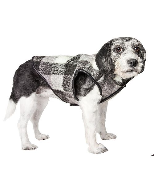 Pet Life Central Pet Life 'Black Boxer' Classical Plaided Insulated Dog Coat Jacket