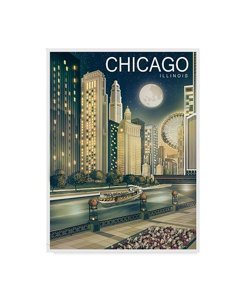 """Trademark Innovations Old Red Truck 'Chicago 2' Canvas Art - 32"""" x 24"""" x 2"""""""