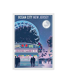 """Old Red Truck 'Ocean City New Jersey' Canvas Art - 32"""" x 24"""" x 2"""""""
