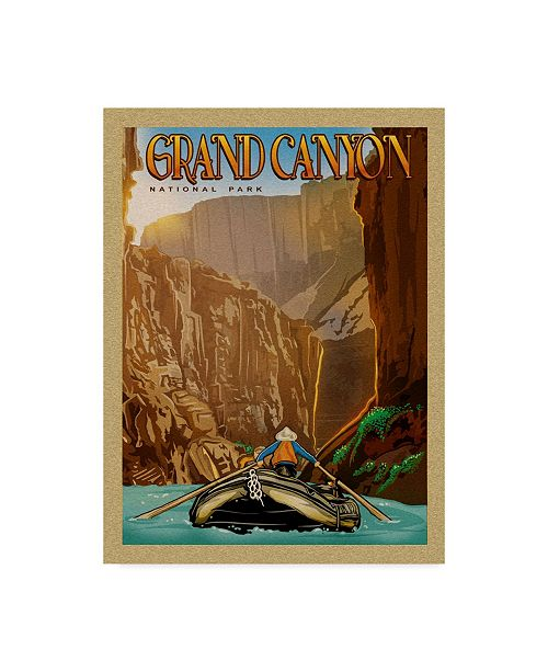 """Trademark Innovations Old Red Truck 'Grand Canyon River Ride' Canvas Art - 24"""" x 18"""" x 2"""""""