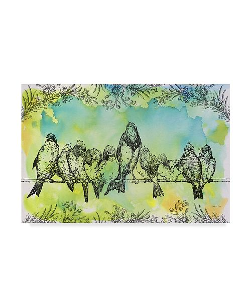 "Trademark Global Jean Plout 'Birds On Wire Flowers' Canvas Art - 24"" x 16"" x 2"""