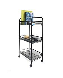 Rolling Metal Mesh 3 Shelf Cart
