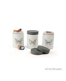 Mind Reader 3 Piece Sugar,Tea,Coffee Metal Canister Set