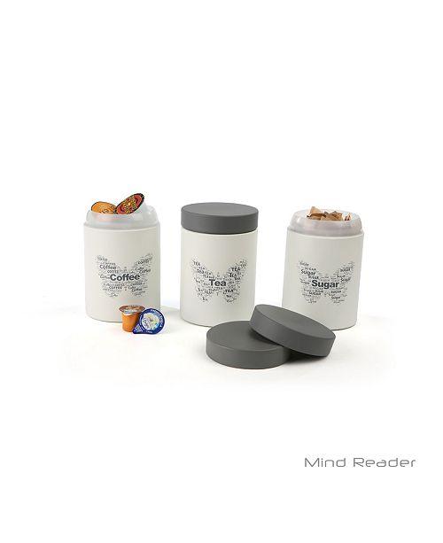 Mind Reader 3 Piece Sugar,Tea,Coffee Metal Canister Set