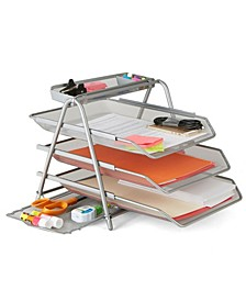 3 Trays Desktop Document Letter Tray Organizer with Pull Out Drawer Organizer, Folders, Files, Documents, Mail