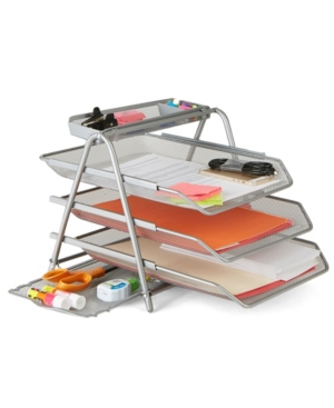 Mind Reader 3 Trays Desktop Document Letter Tray Organizer with Pull Out Drawer Organizer, Folders, Files, Documents, Mail