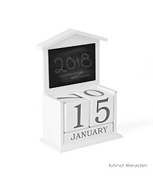 Mind Reader Wooden Decorative Table Calendar Decor with Mini Chalkboard