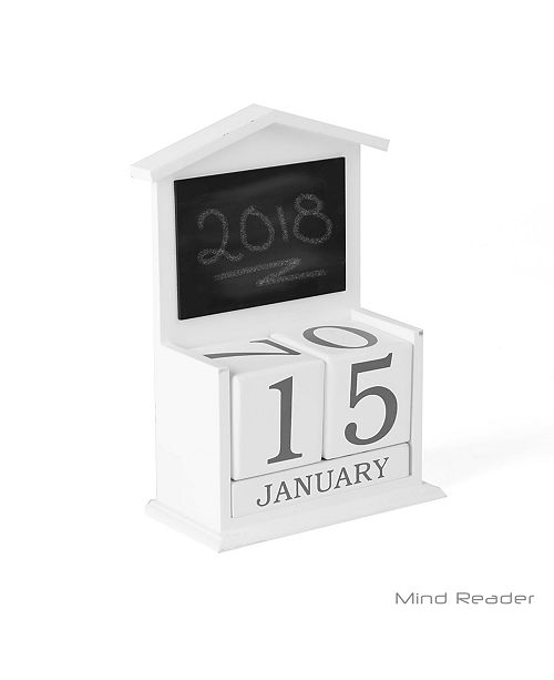 Mind Reader Wooden Decorative Table Calendar Decor with Mini Chalkboard