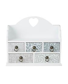 Mind Reader Wooden 5 Drawer Storage Organizer Chest Compartments