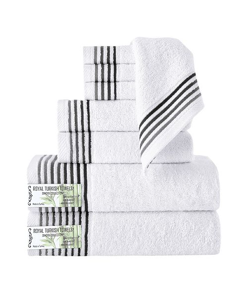 Makroteks Classic Turkish Towels Dimora 8 Piece Luxury Bamboo Series Towel Set