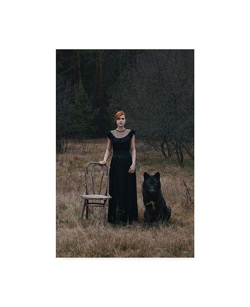 "Trademark Innovations Olga Barantseva 'Her And Her Dog' Canvas Art - 12"" x 2"" x 19"""