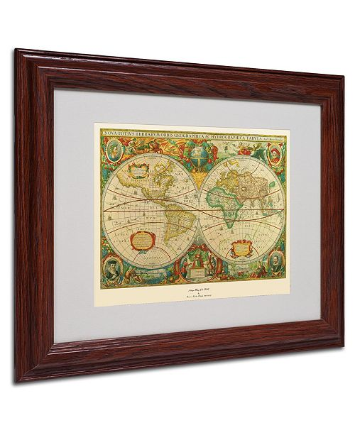 """Trademark Global 'Old World Map Painting' Matted Framed Art - 14"""" x 11"""" x 0.5"""""""