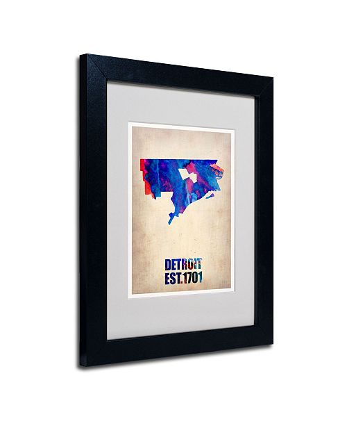 "Trademark Global Naxart 'Detroit Watercolor Map' Matted Framed Art - 14"" x 11"" x 0.5"""