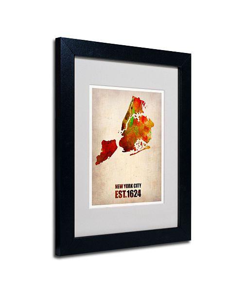 "Trademark Global Naxart 'New York City Watercolor Map 2' Matted Framed Art - 14"" x 11"" x 0.5"""
