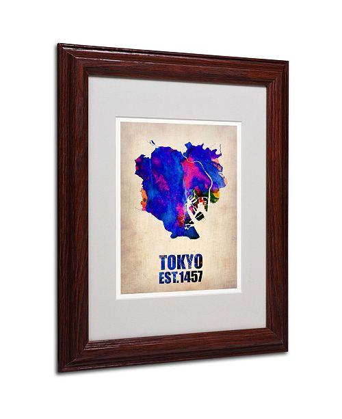 """Trademark Global Naxart 'Tokyo Watercolor Map' Matted Framed Art - 11"""" x 14"""" x 0.5"""""""